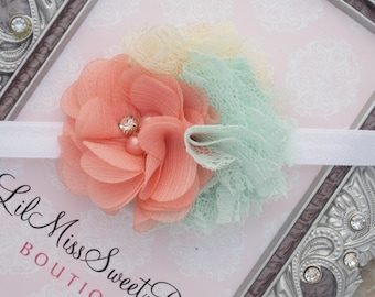Peach, Mint and Ivory Cluster Flower Headband on white elastic, photo prop, everyday wear, newborn photographers, by Lil Miss Sweet Pea