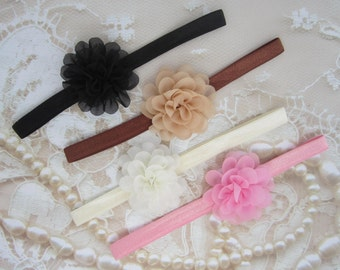 Baby Headband GIFT SET for newborns, 4 pieces, baby hairband, newborn baby girl, headband set, baby shower gift, by Lil Miss Sweet Pea