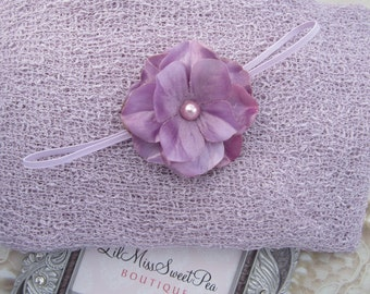 "Sorbet Knit Wrap AND/OR Matching 2.75"" Flower Headband, photo shoots, purple swaddle, lavender, newborn wrap, bebe foto, Lil Miss Sweet Pea"