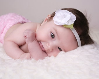 White Chiffon Rose Blossom Headband on Frosted White Elastic for newborn photo shoots or everyday wear, by Lil Miss Sweet Pea