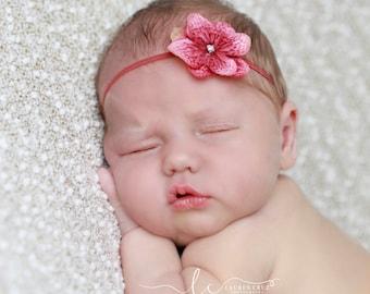 Shades of Pink Hydrangea flower headband, newborn, bandeau bebe, flower headband, skinny elastic headband by Lil Miss Sweet Pea