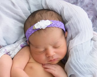 Miniature flower headband for newborn photos, stretch lace, purple and white vintage lace, newborn, baby headband by Lil Miss Sweet Pea