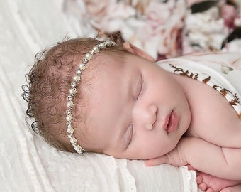 Silver and Pearl Rhinestone Headband for newborn photos, flower girls or brides, by Lil Miss Sweet Pea