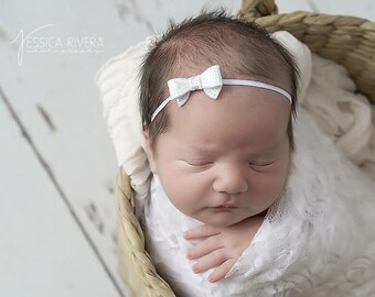White stretch lace swaddle wrap AND / OR sequin bow headband for newborn photo shoots, bebe foto, baby swaddle, by Lil Miss Sweet Pea