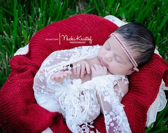 Red and Silver Rhinestone Headband for girls, perfect for newborns and photo shoots for all ages, lots of bling! Great for Holiday Photos.
