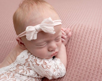 Newborn Lace Romper with Organic Silk Bow Headband, bebe bandeau, infant photo, Lil Miss Sweet Pea