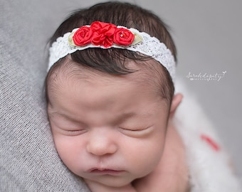 Red and White Lace Headband - vintage lace - newborn photos - Christmas - new baby - shower gift - Lil Miss Sweet Pea