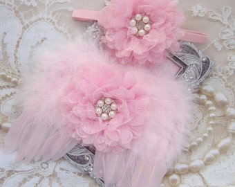 Baby Pink Angel Baby Wings AND/OR Matching Lace Flower Headband, for a teenie infant, photo shoot, baby photo, by Lil Miss Sweet Pe