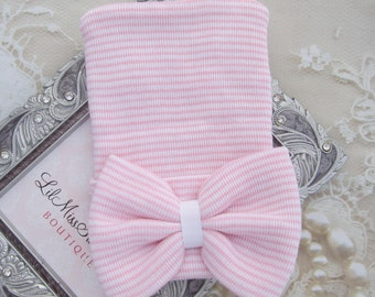 Newborn hospital hat, pink stripe hat & bow, latex free, take home outfit, baby beenie, infant hat, newborn beenie,by Lil Miss Sweet Pea