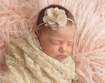 "BlushTea Rose Stretch Lace Swaddle Wrap AND/OR Matching 2""Flower Headband, newborn photo, bandeau bebe, photography, by Lil Miss Sweet Pea"