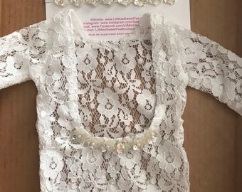 Newborn Lace Romper with Sequin Trim AND/OR sequin flower headband by Lil Miss Sweet Pea