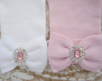 Gift Set of 2 decorated Rhinestone Newborn Baby Hospital Hats, double ply, hospital grade, Lil Miss Sweet Pea Boutique