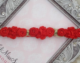 Red Mini Flower Halo Headband for newborn photo shoots, baby halo, Christmas, new baby, shower gift, bebe bandeau, by Lil Miss Sweet Pea