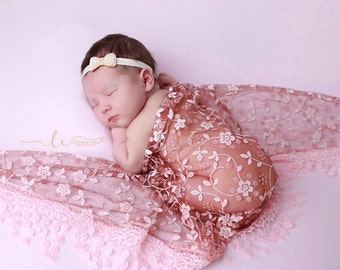 Lace Fringe Swaddle Wrap in Brick AND/OR Gold & Pearl Bow Headband, newborn photo shoots, baby girl, baby gift, by Lil Miss Sweet Pea