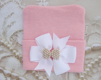 Pink Newborn Hospital Hat with a White Grosgrain Bow Adorned with a Pearl & Rhinestone Button, baby hat, infant, Lil Miss Sweet Pea Boutique