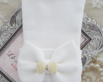 Newborn hospital hat, white with rhinestone and pearl bow attachment, baby hat, hospital take home outfit, bebe, Lil Miss Sweet Pea Boutique