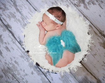 Ocean Blue Angel Feather Baby Wings with Stretch Lace Elastic Headband, for newborns, photo shoots, photographers, baby photo, baby girls