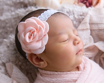 Pretty 2.25 inch peach satin rose flower on vintage lace elastic, just perfect for a newborn, photo shoots or everyday, Lil Miss Sweet Pea