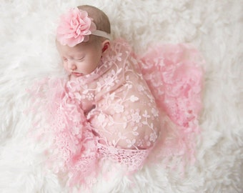 Lace Fringe Wrap: Pink, Purple or Blue with Chiffon & Lace Flower headband, newborn photo shoots, swaddle wrap set, by Lil Miss Sweet Pea