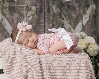 Newborn Lace Romper in Pink or White AND/OR Silver Rhinestone Headband, low back, couture romper, photoshoot, bebe foto, Lil Miss Sweet Pea