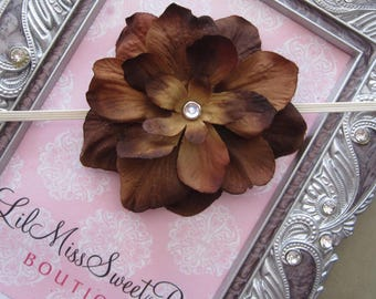 Brown Delphinium Flower headband for newborn photo shoots or everyday wear, perfect for all ages, baby shower gift