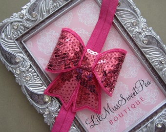 ON SALE only 5 dollars! This glitter sequin bow is adorable! Pink sequins, hot pink sequins, photographer, Lil Miss Sweet Pea Boutique