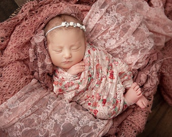 Shades of Pink stretch swaddle AND/OR Rhinestone Flower Headbands, bandeau bebe, by Lil Miss Sweet Pe