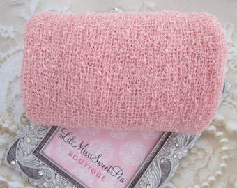 "Baby Pastel Pink Stretch Knit Wrap - 12x55"" laying flat, up to 39x72"" when stretched! For Newborn photos, Lil Miss Sweet Pea ready to ship"