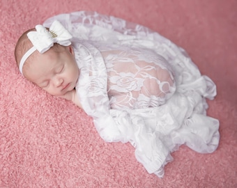 White Stretch Lace Swaddle Wrap AND/OR Lace Bow Headband, newborn photos, layering lace, birthday, Christening, Lil Miss Sweet Pea