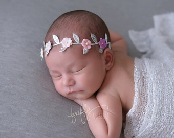 Small Mulberry Flowers on Silver Leaf Halo, ombre or one color, bridesmaid, newborn, paper flower halo, Lil Miss Sweet Pea