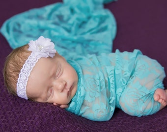 Aqua stretch lace swaddle wrap and/or matching mini white flower on a vintage headband,  newborn photo, stretch lace by Lil Miss Sweet Pea