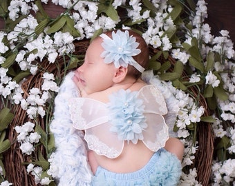 Ice blue and white Baby Wings for photo prop for newborns. Wing span is 8 inches and the matching headband also has a 2 inch flower