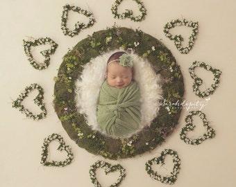 "Sage Green Knit Wrap AND/OR Matching 2"" Chiffon Flower Headband, photo shoots, newborn swaddle, bebe foto, Lil Miss Sweet Pea"