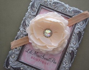 Peach Ranunculus Flower with a Rhinestone Center - photo prop, large 4 inch flower with rhinestone center by Lil Miss Sweet Pea
