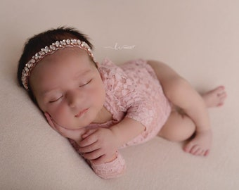 Newborn Lace Romper in Dusty Rose AND/OR Matching Rose Gold Rhinestone Headband, photoshoot, baby bling, bandeau bebe, Lil Miss Sweet Pea
