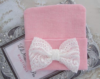 Hospital Take Home Hat in Pink with a Delicate Lace Bow, girl beenie, vintage lace bow, hat, baby girl shower gift, bebe, Lil Miss Sweet Pea