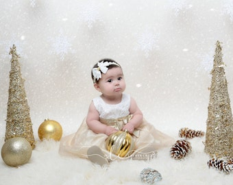 Pretty Ivory Bow with a Gold Metallic Soft Stretch Elastic Headband,  Christmas, Ivory and gold, photograph, bebe, by Lil Miss Sweet Pea