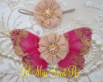 Butterfly wings, fuchsia and gold baby wings &/or matching headband for newborn photos, photo prop, newborn photographer, Lil Miss Sweet Pea