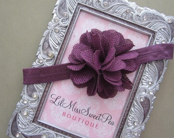 Plum Burlap Flower Headband - perfect for Fall -  for newborns, perfect for photo shoots, Lil Miss Sweet Pea, hairband, hair band, headband