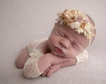 Ivory Lace Romper, Stretch lace, w/sleeves, unlined, AND/OR matching cluster flower headband, bebe foto, Lil Miss Sweet Pea