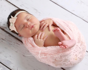 Nude blush stretch lace swaddle wrap and/or matching felt bow headband for newborn photo shoots, stretch lace by Lil Miss Sweet Pea