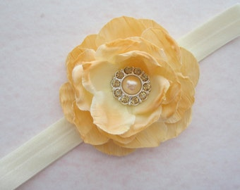 Apricot Rose Flower headband - 3 inch flower, for all ages, photographers, newborn, photo prop, pink ballerina