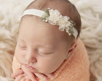 Peach Knit Wrap AND/OR Matching Petite Flower Headband, photo shoots, newborn swaddle, bebe foto, Lil Miss Sweet Pea
