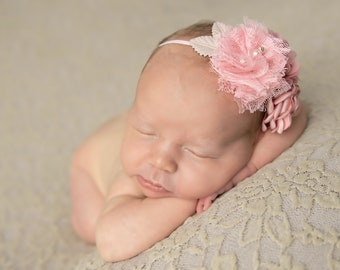 Couture Flower Headband, baby photos, newborn photos, photographer headband, pink and blush flowers with blush leaves, Lil Miss Sweet Pea