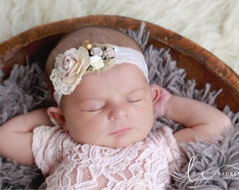Organic Mulberry Flower and Vintage Lace Sari Silk Tieback for newborn photo shoots by Lil Miss Sweet Pea