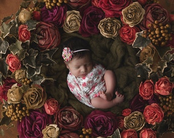 Floral Printed Stretch Lace Wrap AND /OR Pretty 2 inch floral print petal flower, bebe foot, newborn photos, print, by Lil Miss Sweet Pea