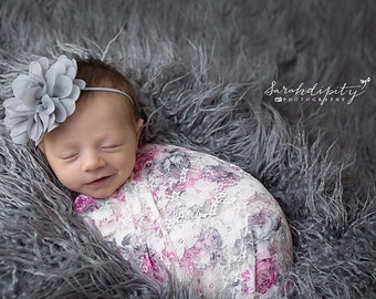 "Stretch Lace Wrap in Pink and Grey Floral Print AND/OR Grey 4"" Flower headband, newborn photo, baby swaddle, bebe foto, Lil Miss Sweet Pea"