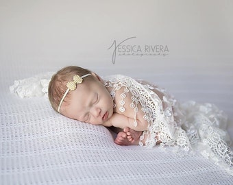 White fringe edge lace swaddle wrap AND/OR Pearl Bow headband for newborn photo shoots, lace wrap by Lil Miss Sweet Pea
