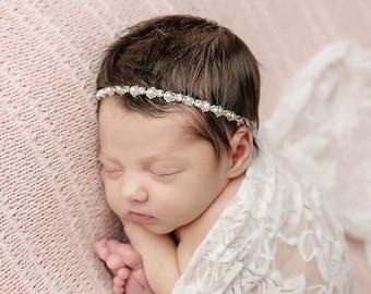 Newborn silver pearl and rhinestone headband, bebe, bandeau, photographer, pearls, baptism, christening, baby bling, Lil Miss Sweet Pea