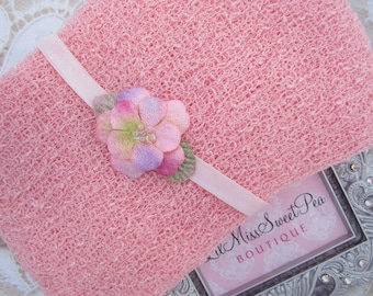 Pink Knit Wrap AND/OR Matching Velvet Beaded Flower Headband set for photo shoots, girly pink, bebe, foto, infant hair, Lil Miss Sweet Pea